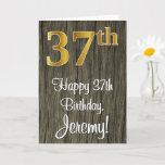 [ Thumbnail: 37th Birthday: Elegant Faux Gold Look #, Faux Wood Card ]