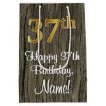 [ Thumbnail: 37th Birthday: Elegant Faux Gold Look #, Faux Wood Gift Bag ]