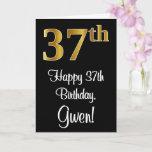 [ Thumbnail: 37th Birthday ~ Elegant Luxurious Faux Gold Look # Card ]