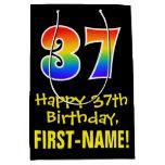 "[ Thumbnail: 37th Birthday: Fun, Bold, Colorful, Rainbow ""37"" Gift Bag ]"