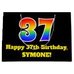 [ Thumbnail: 37th Birthday ~ Fun, Colorful, Vibrant, Rainbow 37 Gift Bag ]