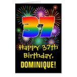 [ Thumbnail: 37th Birthday: Fun Fireworks Pattern & Rainbow 37 Card ]