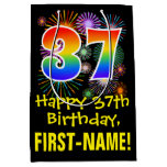 [ Thumbnail: 37th Birthday: Fun Fireworks Pattern + Rainbow 37 Gift Bag ]