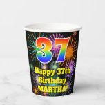 [ Thumbnail: 37th Birthday: Fun Fireworks Pattern + Rainbow 37 ]