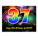 [ Thumbnail: 37th Birthday – Fun Fireworks Pattern + Rainbow 37 Postcard ]