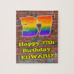 [ Thumbnail: 37th Birthday: Fun Graffiti-Inspired Rainbow 37 Jigsaw Puzzle ]