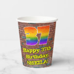 [ Thumbnail: 37th Birthday: Fun Graffiti-Inspired Rainbow 37 ]