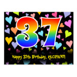 [ Thumbnail: 37th Birthday: Fun Hearts Pattern, Rainbow 37 Postcard ]