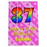 [ Thumbnail: 37th Birthday: Fun Pink Hearts Stripes; Rainbow 37 Gift Bag ]