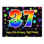 [ Thumbnail: 37th Birthday: Fun Stars Pattern, Rainbow 37, Name Postcard ]