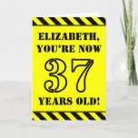 [ Thumbnail: 37th Birthday: Fun Stencil Style Text, Custom Name Card ]