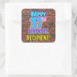 [ Thumbnail: 37th Birthday – Fun, Urban Graffiti Inspired Look Sticker ]