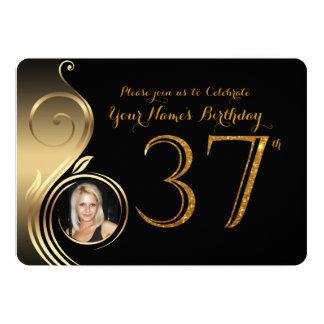 37th,Birthday Invitation,Number Glitter Gold,Photo Card