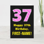 "[ Thumbnail: 37th Birthday: Pink Stripes and Hearts ""37"" + Name Card ]"
