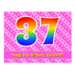 [ Thumbnail: 37th Birthday: Pink Stripes & Hearts, Rainbow 37 Postcard ]