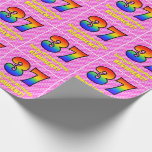 [ Thumbnail: 37th Birthday: Pink Stripes & Hearts, Rainbow # 37 Wrapping Paper ]