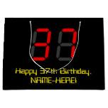 "[ Thumbnail: 37th Birthday: Red Digital Clock Style ""37"" + Name Gift Bag ]"