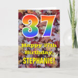 "[ Thumbnail: 37th Birthday; Rustic Autumn Leaves; Rainbow ""37"" Card ]"