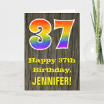 "[ Thumbnail: 37th Birthday: Rustic Faux Wood Look, Rainbow ""37"" Card ]"