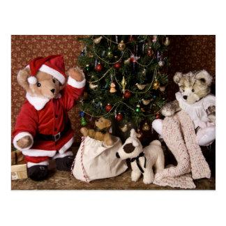 3806 navidad de Santa del oso de peluche Postales