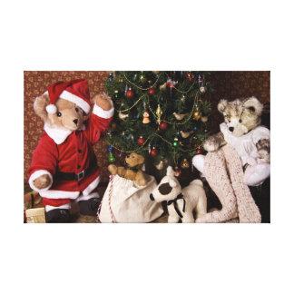 3806 Teddy Bear Santa Christmas Canvas Print