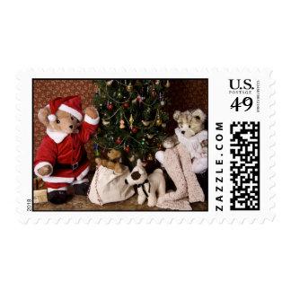 3806 Teddy Bear Santa Christmas Postage Stamp