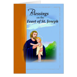 3820 Blessings St. Joseph Feast Blue Greeting Card
