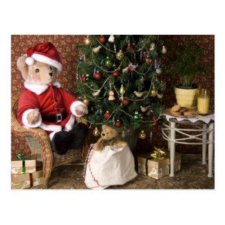 3827 navidad de Santa del oso de peluche Postales