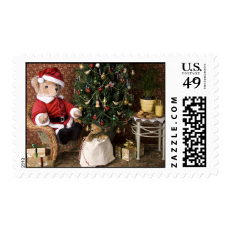 3827 Teddy Bear Santa Christmas Postage Stamp
