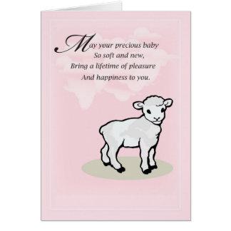 3832 Baby Girl Lamb Congratulations Card