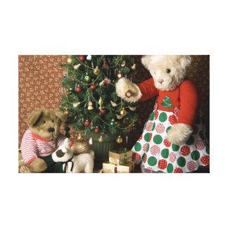 3843 Teddy Bear Christmas Canvas Print