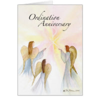 3849 Ordination Anniversary with Angels Greeting Cards