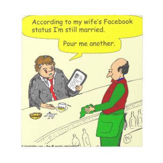 385 social media status married cartoon memo pad
