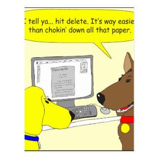 386 delete homework dog cartoon postcard