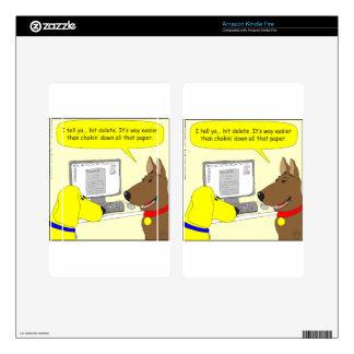 386 delete homework dog cartoon decal for kindle fire