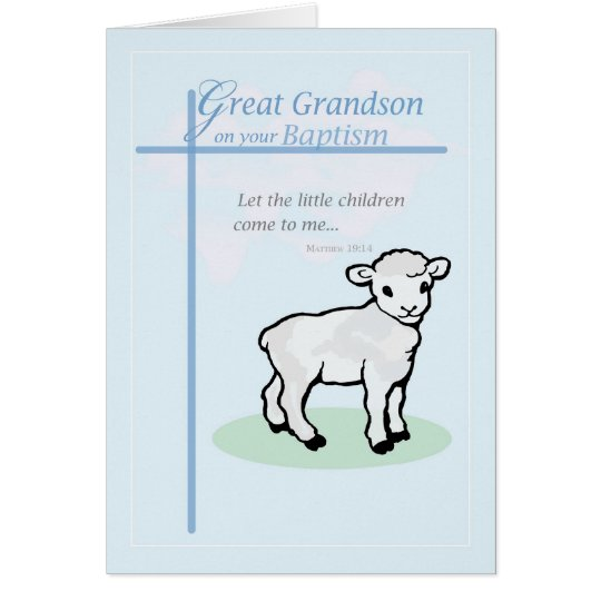 3875  Great Grandson Baptism Boy Lamb Card