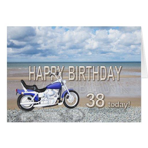 38.a tarjeta de cumpleaños con una bici del motor