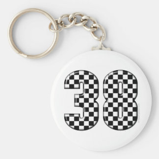 38 auto racing number keychain