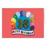 38.o arco feliz del globo del cumpleaños tarjetas