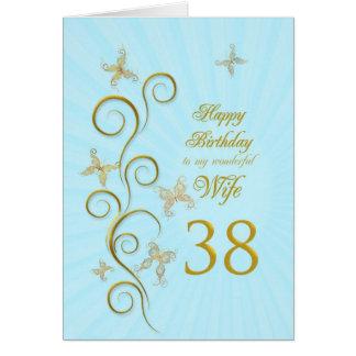 38.o cumpleaños de la esposa con las mariposas de tarjeta de felicitación