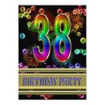 38.o Invitación de la fiesta de cumpleaños con las