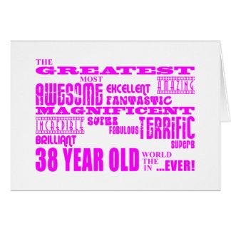 38.os cumpleaños treinta y ocho más grande rosado  tarjeta pequeña