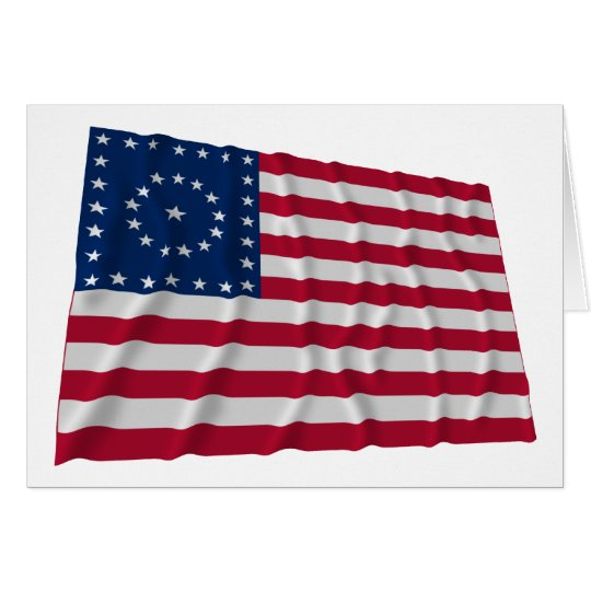 38-star flag, Boxed Medallion pattern Card