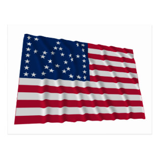 38-star flag, Bracketed Great Star pattern Postcard
