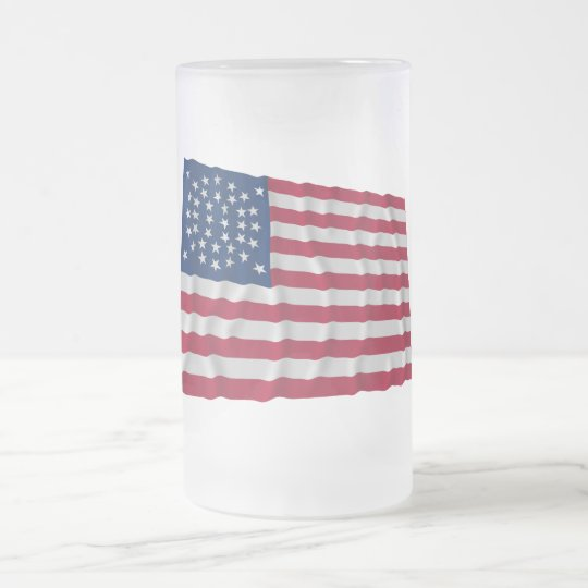 38-star flag, Global pattern, Outliers Frosted Glass Beer Mug