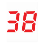 38 thirty-eight red alarm clock digital number postcards