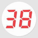 38 thirty-eight red alarm clock digital number sticker