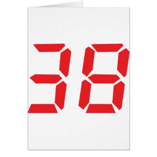 38 treinta y ocho números digitales del despertado tarjeta de felicitación