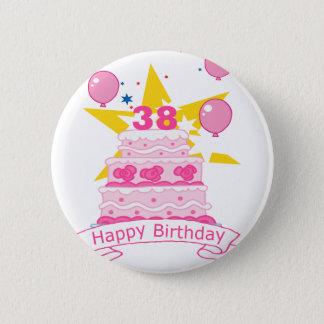 38 Year Old Birthday Cake Pinback Button