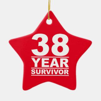 38 year survivor ceramic ornament